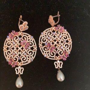 Jewelry - 925 Silver Rose Gold Pierced Earrings